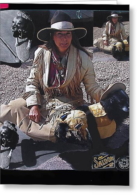 Chihuahua Collage Greeting Cards - Gunslinger dog collage Tombstone Arizona 2004-2010 Greeting Card by David Lee Guss