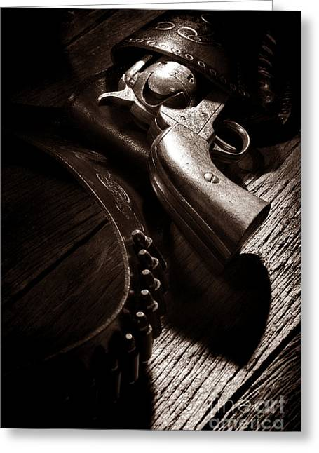 Old Plank Tables Photographs Greeting Cards - Gunslinger Tool Greeting Card by American West Legend By Olivier Le Queinec