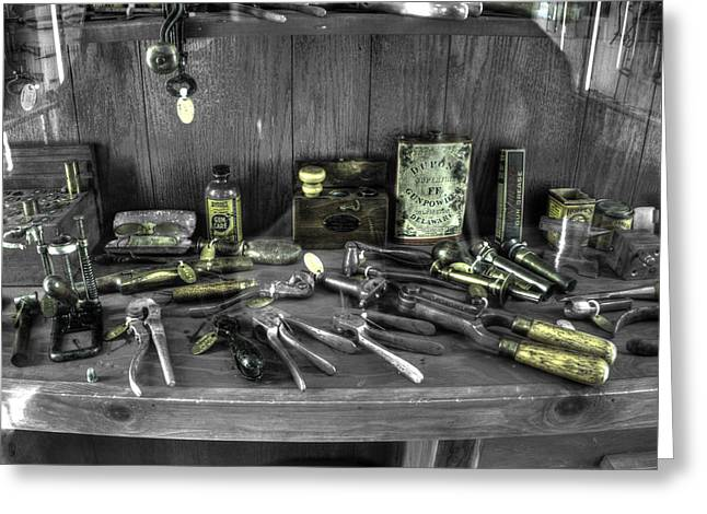 Gunsmith Greeting Cards - Gunsmith Workshop v3 Greeting Card by John Straton
