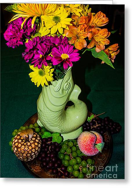 Still Life With Fish Greeting Cards - Gurgle Vase With Flowers Greeting Card by Kathy Liebrum Bailey