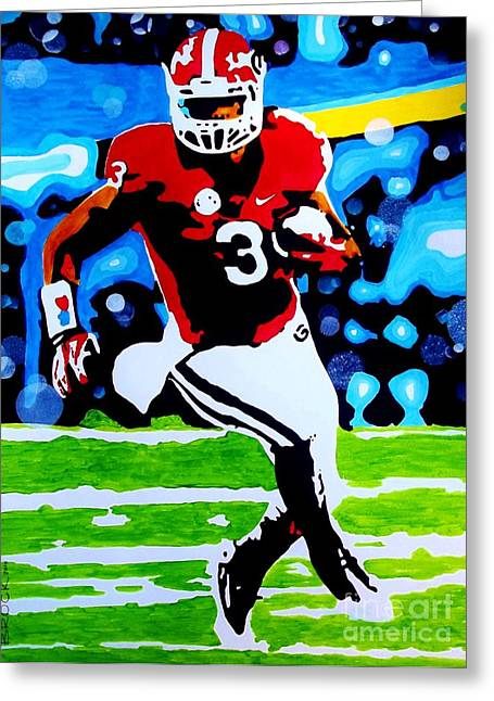 Running Back Paintings Greeting Cards - Gurley Greeting Card by Kyle  Brock