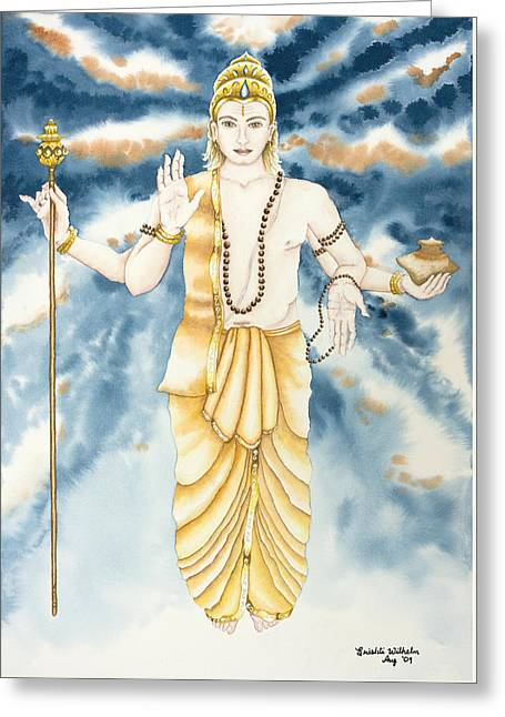 Indian Guru Greeting Cards - Guru Jupiter Greeting Card by Srishti Wilhelm