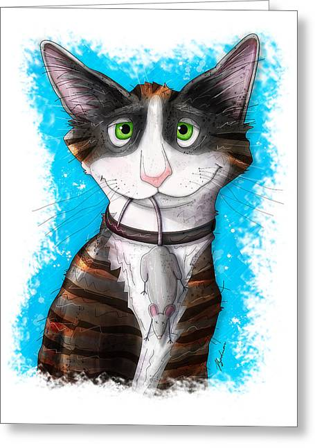 Kitten Prints Greeting Cards - Gus Greeting Card by Gary Bodnar