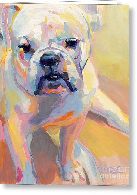 Bulldog Paintings Greeting Cards - Gus Greeting Card by Kimberly Santini