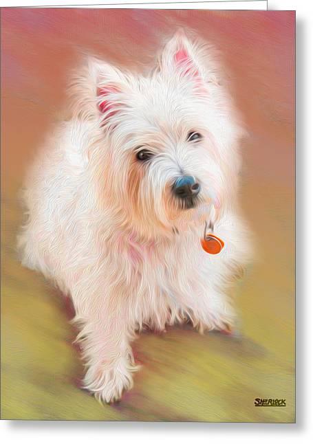 Westie Digital Art Greeting Cards - Gus No. 3 Greeting Card by Alan Sherlock