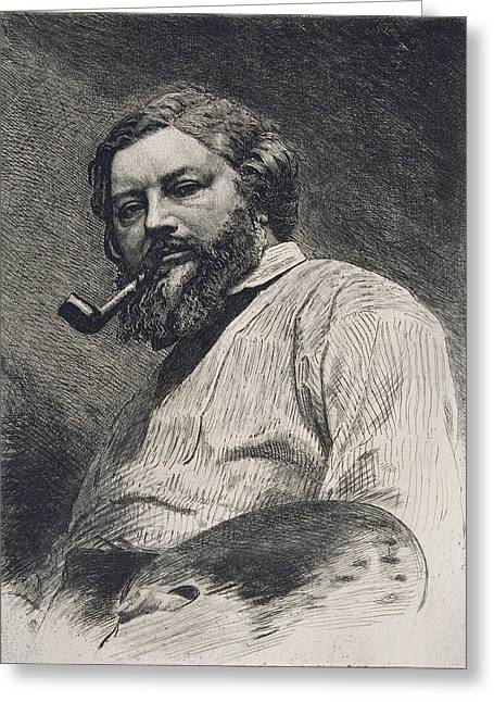 Smoker Greeting Cards - Gustave Courbet Greeting Card by Etienne Gabriel Bocourt