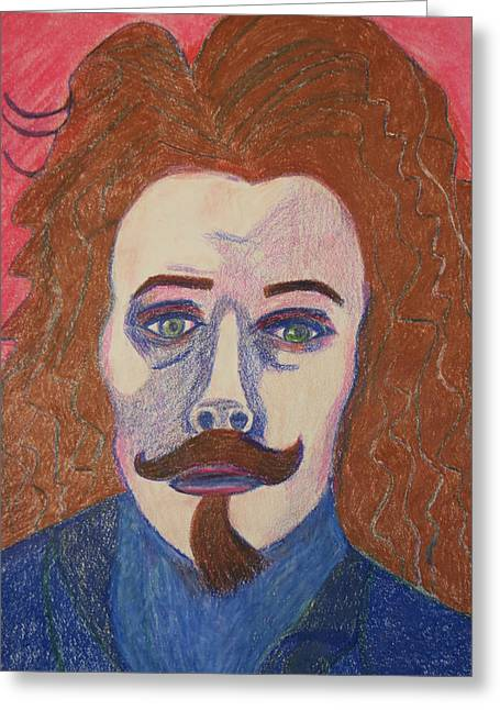 Celebrity Portraits Pastels Greeting Cards - Gustave Courbet Greeting Card by Manuel Matas