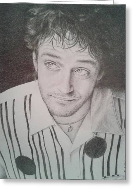Player Drawings Greeting Cards - Gustavo Cerati Greeting Card by Carola Moreno