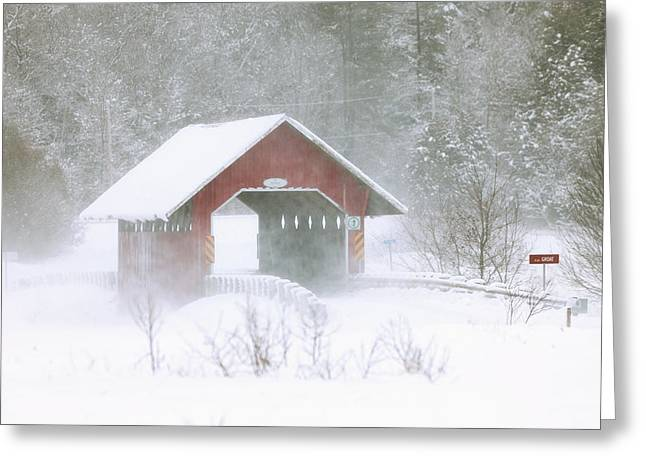 Breezy Greeting Cards - Guthrie Covered Bridge In Blowing Snow Greeting Card by Yves Marcoux