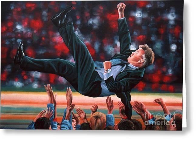 League Paintings Greeting Cards - Guus Hiddink Greeting Card by Paul  Meijering