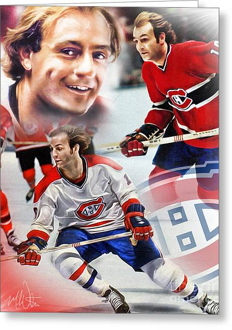 Hockey Guy Greeting Cards - Guy Lafleur Collage Greeting Card by Mike Oulton