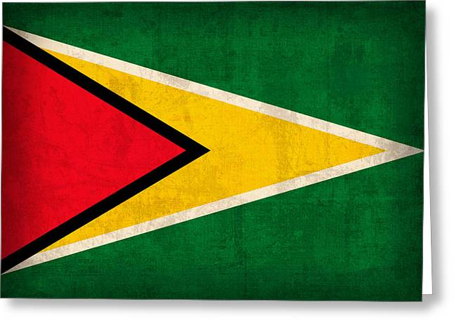 Guyana Greeting Cards - Guyana Flag Vintage Distressed Finish Greeting Card by Design Turnpike