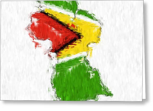 Dap Greeting Cards - Guyana Painted Flag Map Greeting Card by Antony McAulay