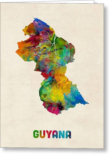 Guyana Greeting Cards - Guyana Watercolor Map Greeting Card by Michael Tompsett