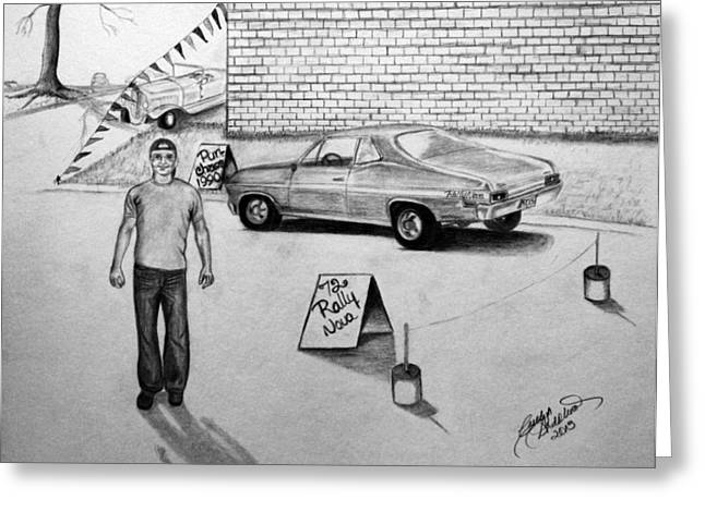 Rally Drawings Greeting Cards - Guys and their Toys Greeting Card by Carolyn Ardolino