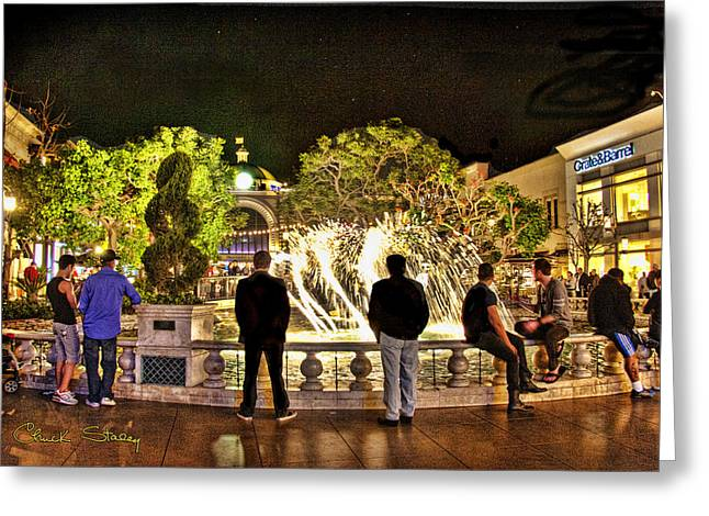Guys At The Grove Greeting Card by Chuck Staley