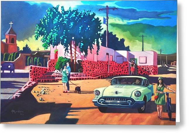 Santa Cruz Paintings Greeting Cards - Guys Dolls and Pink Adobe Greeting Card by Art James West