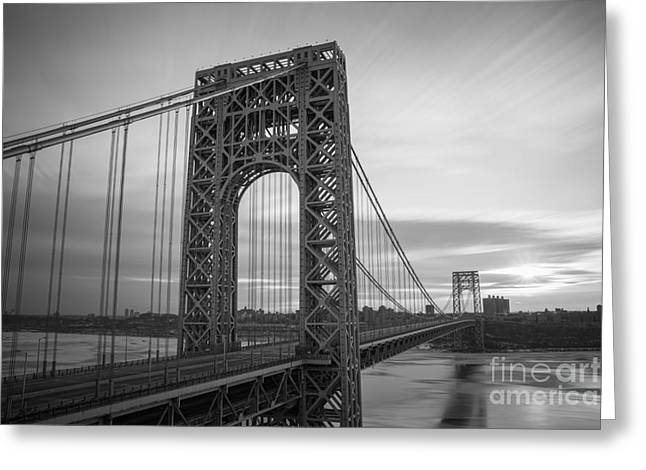 Recently Sold -  - Amazing Sunset Greeting Cards - GW Bridge Winter Sunrise Greeting Card by Michael Ver Sprill