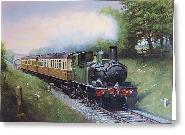 Railway Locomotive Greeting Cards - GWR 0.4.2T engine. Greeting Card by Mike  Jeffries