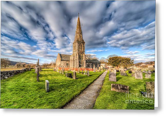 Graveyard Digital Greeting Cards - Gwyddelwern Church Greeting Card by Adrian Evans