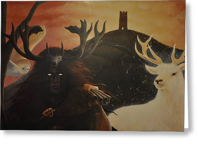 Tor Paintings Greeting Cards - Gwyn and White Hart Greeting Card by Yuri Leitch