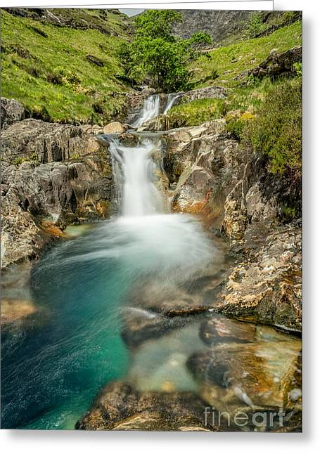 National Digital Art Greeting Cards - Gwynant Waterfall Greeting Card by Adrian Evans