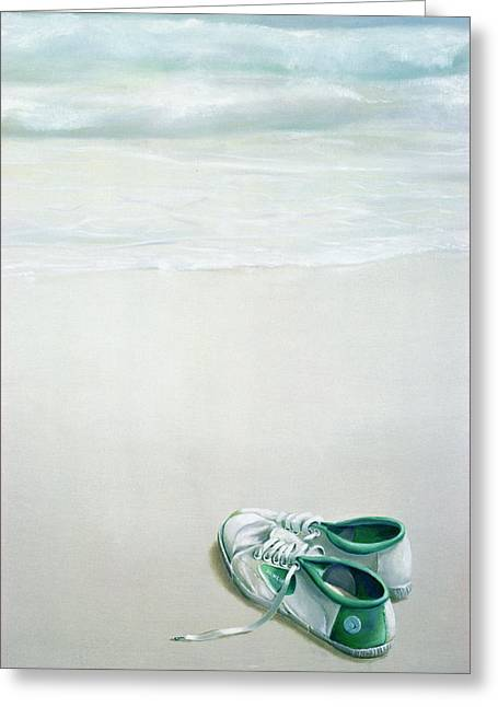 Flash Greeting Cards - Gym Shoes On Beach Greeting Card by Lincoln Seligman