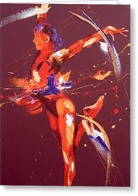 Balance Paintings Greeting Cards - Gymnast Eight Greeting Card by Penny Warden