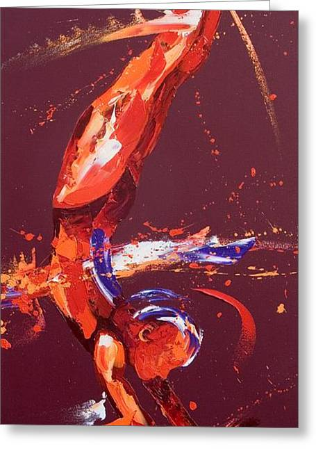 Female Athletics Greeting Cards - Gymnast Five Greeting Card by Penny Warden