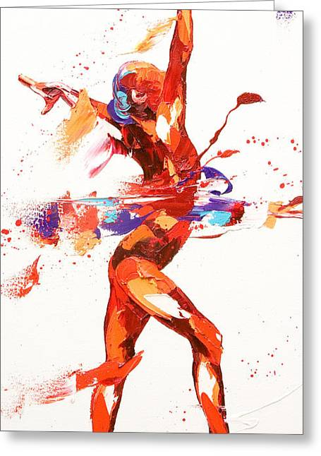 Moving Colors Greeting Cards - Gymnast Four Greeting Card by Penny Warden