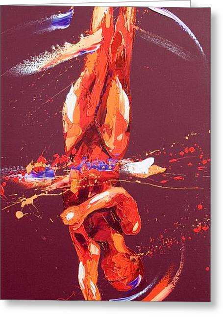 Action Sports Art Greeting Cards - Gymnast Six Greeting Card by Penny Warden