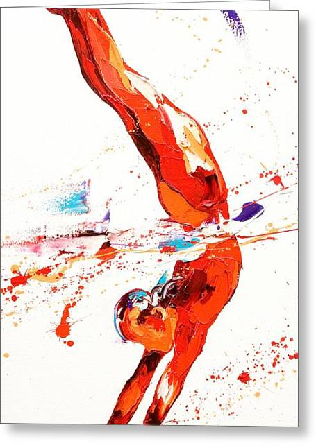 Plunging Greeting Cards - Gymnast Three Greeting Card by Penny Warden