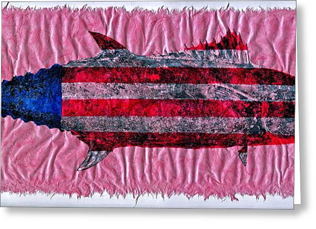 4th July Mixed Media Greeting Cards - Gyotaku - American Spanish Mackerel - Flag Greeting Card by Jeffrey Canha