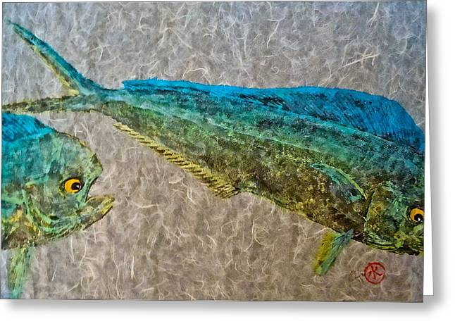 Gyotaku - Mahi Mahi - Dorado - Dolphinfish Greeting Card by Jeffrey Canha