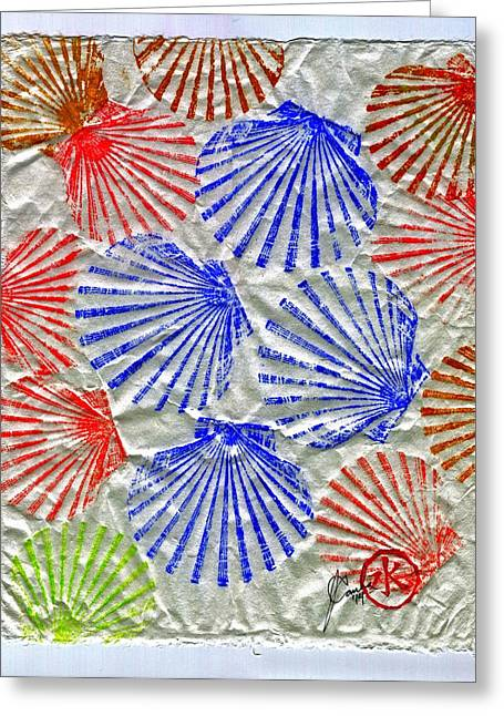 Gyotaku Greeting Cards - Gyotaku Scallops - Summertime Fun - Shellfish Greeting Card by Jeffrey Canha