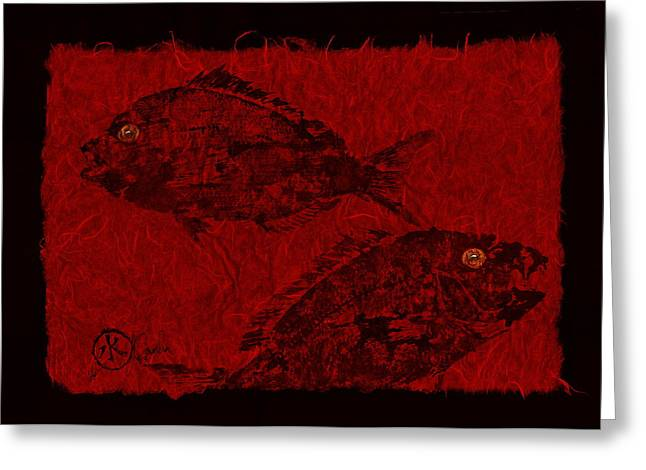 Gyotaku Greeting Cards - Gyotaku Scup Series 1  Red Unryu Paper Greeting Card by Jeffrey Canha
