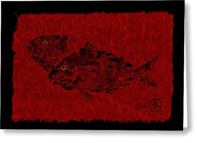 Gyotaku Greeting Cards - Gyotaku Scup Series 2  Red Unryu Paper Greeting Card by Jeffrey Canha