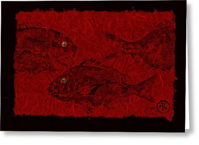 Gyotaku Greeting Cards - Gyotaku Scup Series 3  Red Unryu Paper Greeting Card by Jeffrey Canha