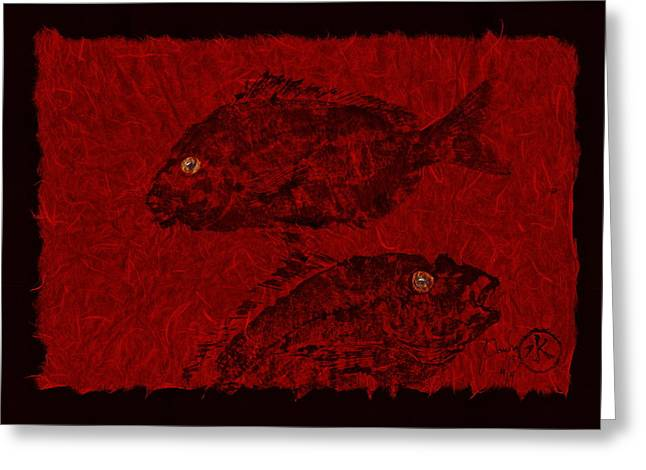 Gyotaku Greeting Cards - Gyotaku Scup Series 4 Red Unryu Paper Greeting Card by Jeffrey Canha