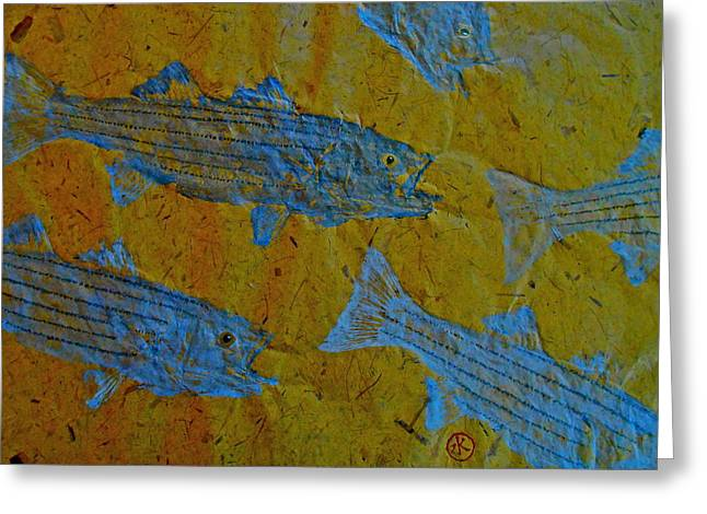 Striped Marlin Greeting Cards - Gyotaku - Striped Bass - Rockfish - Linesider Greeting Card by Jeffrey Canha