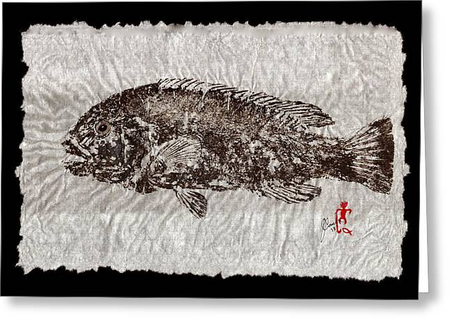 Shark Fossil Art Greeting Cards - Gyotaku Tautog on Rice Paper w Black Border Greeting Card by Jeffrey Canha