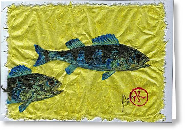 Shark Fossil Art Greeting Cards - Gyotaku - Yellow Perch - Bluefish Greeting Card by Jeffrey Canha