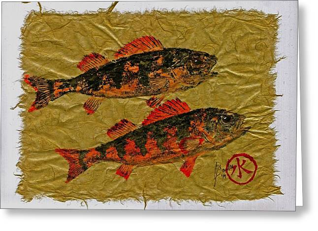 Shark Fossil Art Greeting Cards - Gyotaku - Yellow Perch - Orange Roughy Greeting Card by Jeffrey Canha
