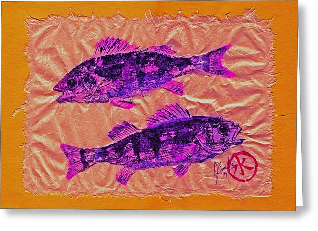 Shark Fossil Art Greeting Cards - Gyotaku - Yellow Perch - Pink Fish Greeting Card by Jeffrey Canha
