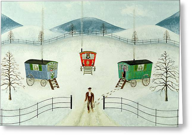 Caravan Greeting Cards - Gypsy Caravans In The Snow, 1981 Oil On Board Greeting Card by Mark Baring