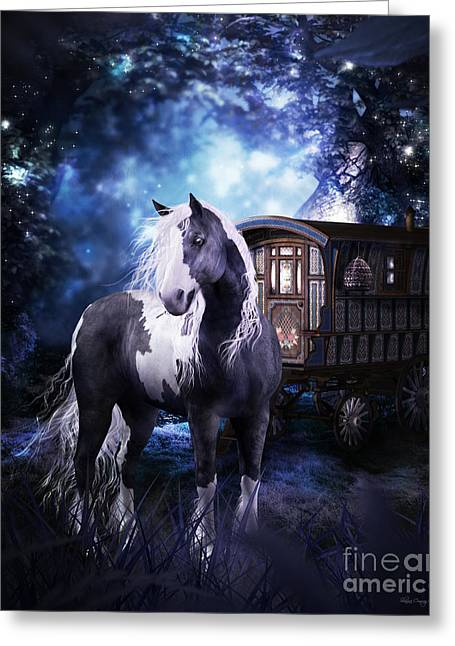 Gypsy Vanner Horse Greeting Cards - Gypsy Dreaming Greeting Card by Shanina Conway