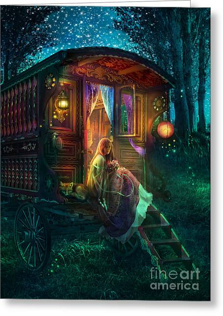 Wheels Greeting Cards - Gypsy Firefly Greeting Card by Aimee Stewart