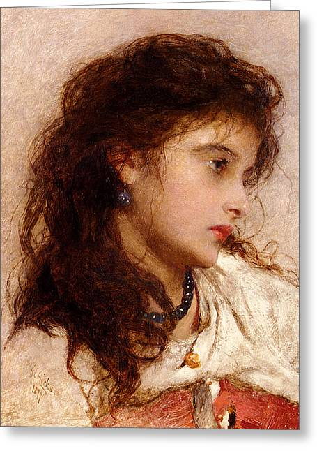 Historically Significant Greeting Cards - Gypsy Girl Greeting Card by George Elgar Hicks