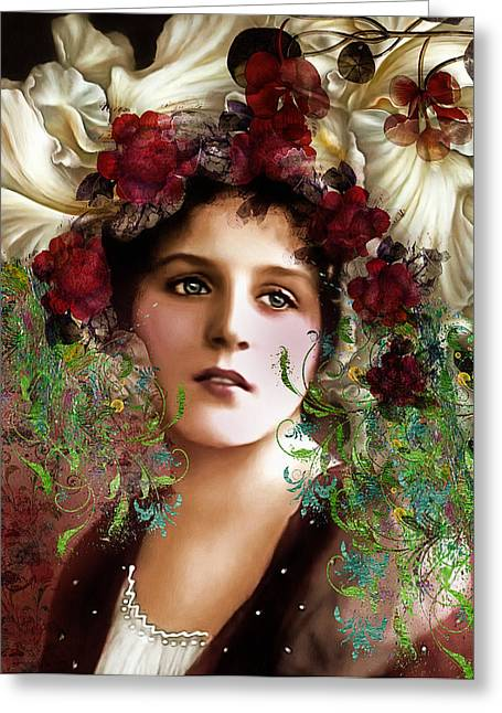 Acrylic Greeting Cards - Gypsy Girl Of Autumn Vintage Greeting Card by Georgiana Romanovna
