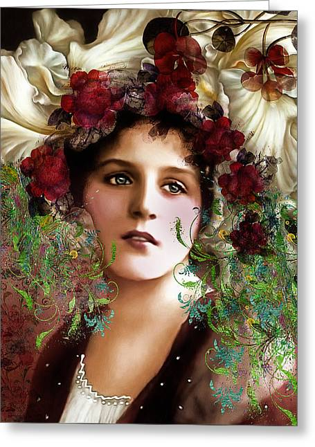 Gypsy Greeting Cards - Gypsy Girl Of Autumn Vintage Greeting Card by Georgiana Romanovna